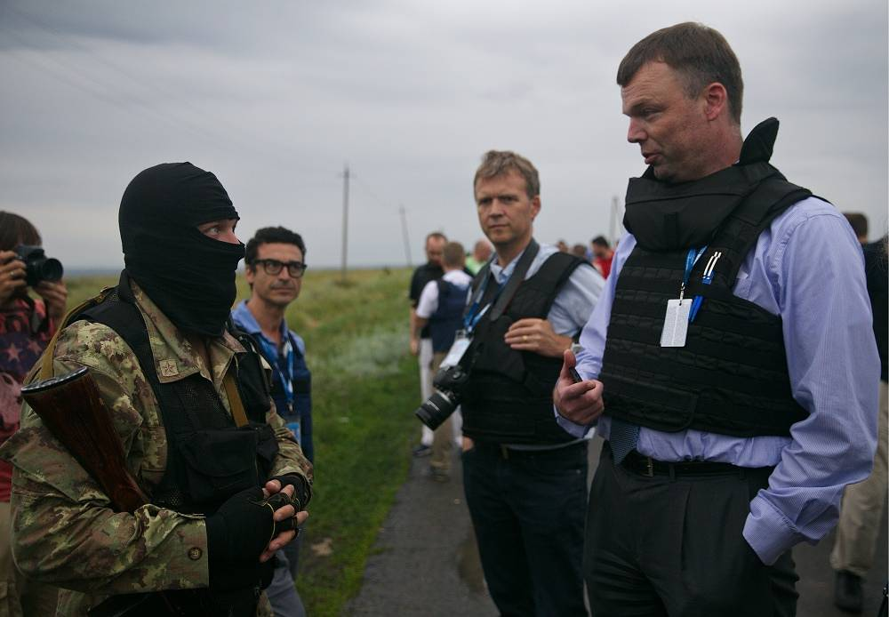 Observers from the Organisation for Security and Co-operation in Europe (OSCE) are working at the crash site and at Torez railway station where remains of air crash victims are being delivered