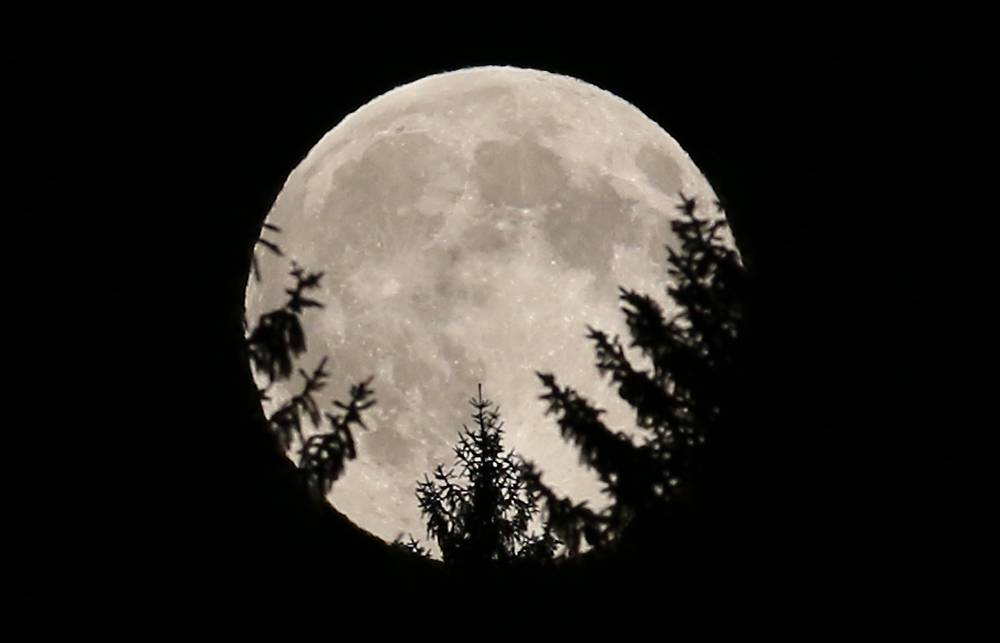 Supermoon seen near Rasing, Austria