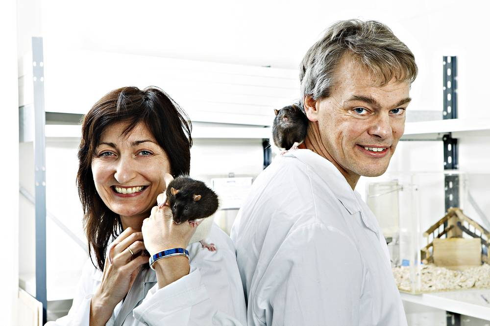 Photo: Edvard Moser and his wife May-Britt Moser in a laboratory in Trondheim,  Norway 2008