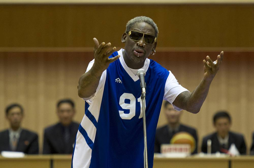 """Dennis Rodman who won the NBA Defensive Player of the Year Award twice is well-known for his image of a bad guy and """"hoops diplomacy"""" with North Korea's Kim Jong-un. Dennis Rodman was arrested several times, charged with domestic violence. Photo: Dennis Rodman sings Happy Birthday to North Korean leader Kim Jong Un, Pyongyang, North Korea, January 8, 2014"""