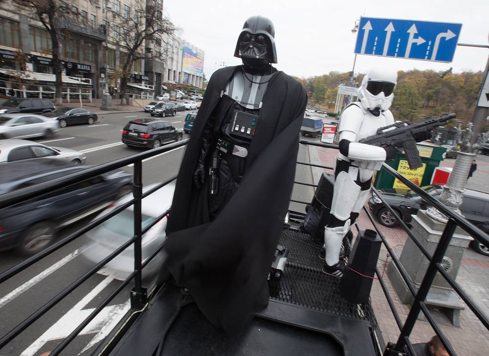 Internet Party of Ukraine, among others, participate in the election. Photo: Darth Vader, the leader of Ukraine's Internet Party holds a campaign event for Ukrainian parliamentary elections