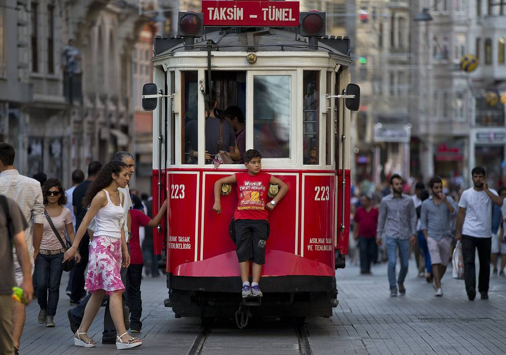 Photo: a streetcar on Istiklal Avenue, the Turkish capital's main shopping street in Istanbul, Turkey, 2013