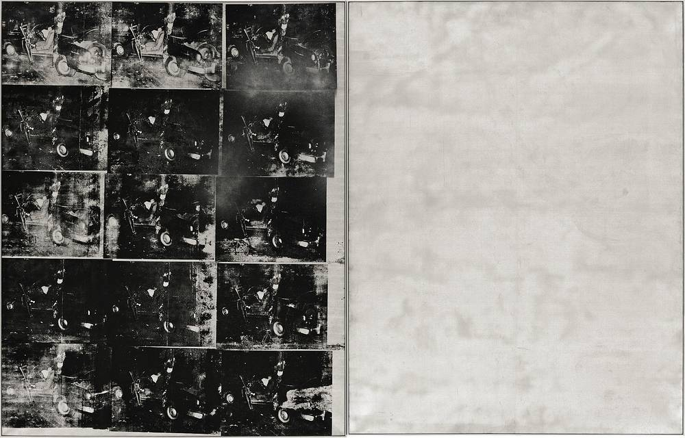"Andy Warhol's ""Silver Car Crash"" was sold for $104.5 million at Sotheby's auction in 2013. The silkscreen print with multiple photos of the aftermath of a car which collided into a tree is part of Warhol's ""Death and Disaster"" series"