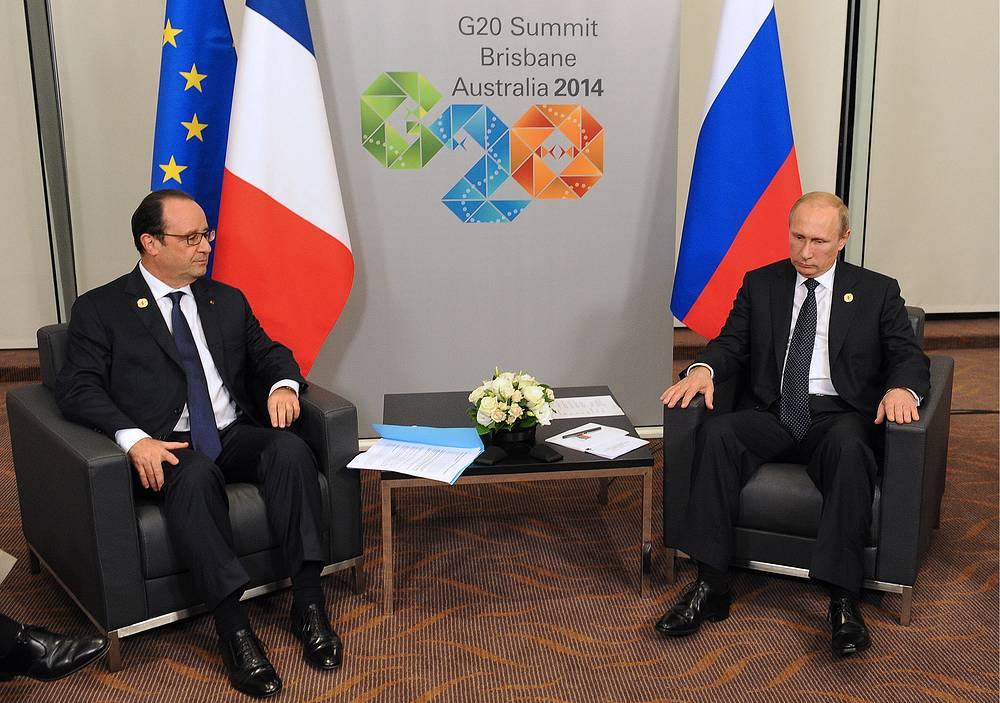 Discussion of Ukrainian problems dominated meetings between Russian President Vladimir Putin with his French counterpart Francois Hollande and British Prime Minister David Cameron, according to Russian presidential spokesman Dmitry Peskov. Photo: Vladimir Putin and Francois Hollande at G20 summit in Brisbane