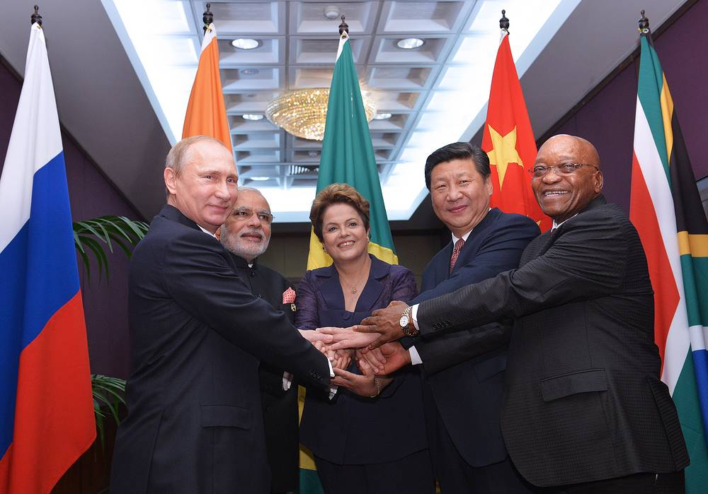 G20 summit was held on 15 and 16 November 2014 in Brisbane, Australia. Photo: Russia's President Vladimir Putin, India's Prime Minister Narendra Modi, Brazil's President Dilma Rousseff, China's President Xi Jinping and South Africa's President Jacob Zuma at a meeting of the leaders of the BRICS countries on the sidelines of the G20 Summit