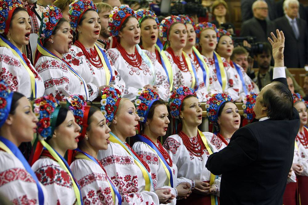 Photo: Chorus singing the Ukrainian national anthem at the first session of the newly elected Ukrainian Parliament