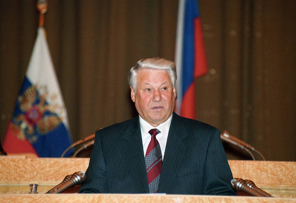 President Boris Yeltsin addressed the Russian parliament for the first time in February 1994. His speech focused on the consolidation of Russia. In 1995, Yeltsin's address to the parliament was dedicated to the effectiveness of the state power. Photo: Boris Yeltsin. February 16, 1995