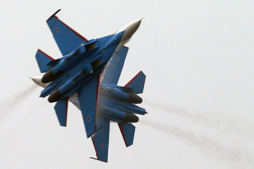 The Russian Knights aerobatics team prepare for Airshow China