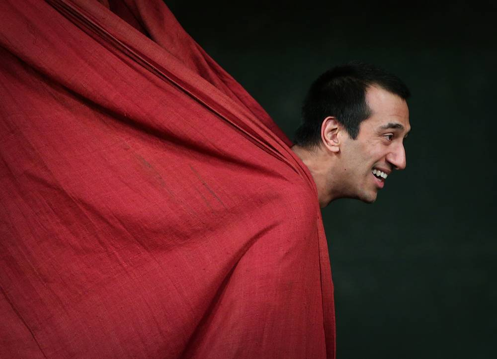 Actor Naeem Hayat as Hamlet in the Shakespeare Globe production presented at Moscow's Mayakovsky Theater