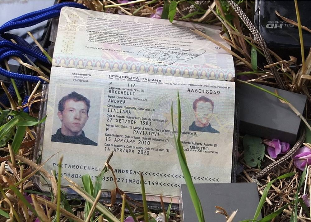 The passport of Italian photojournalist Andrea Rocchelli, killed near Slaviansk in eastern Ukraine, where he was covering the conflict ahead of the presidential election