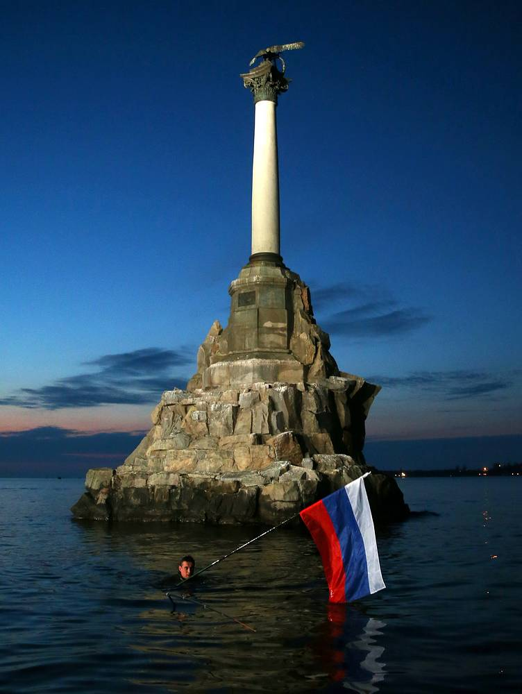 A monument to the sunken ships in Sevastopol, Crimea