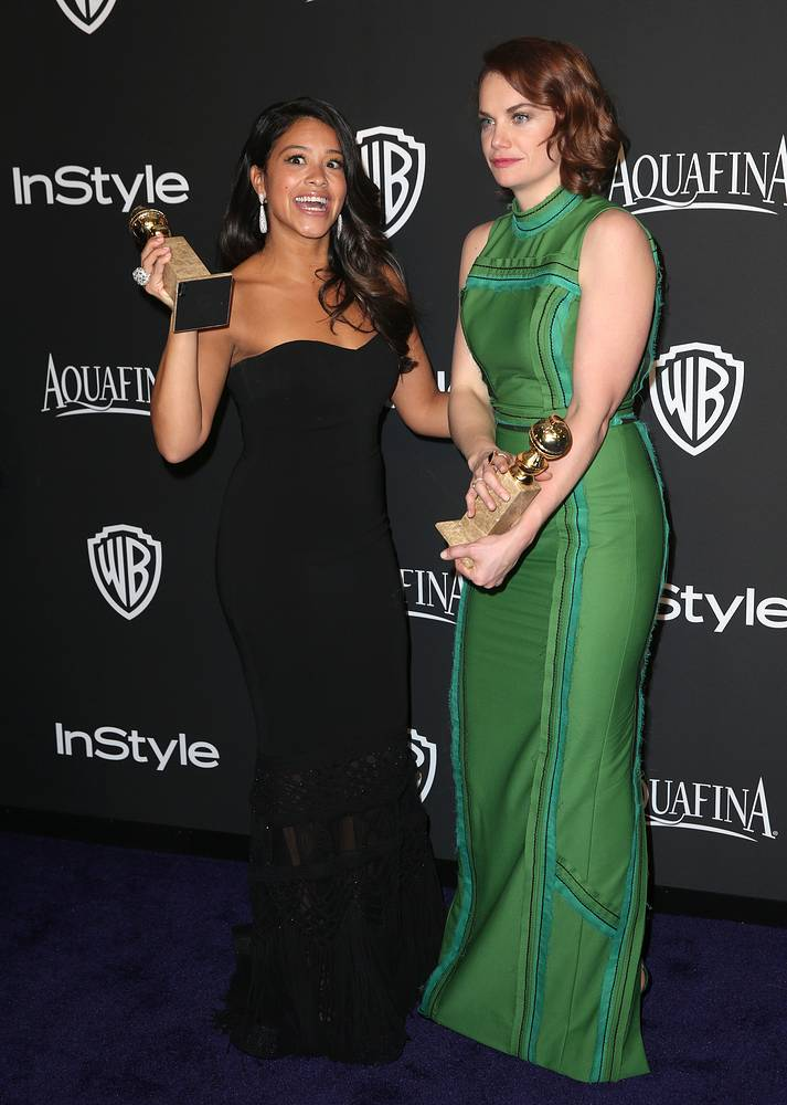 "Gina Rodriguez, winner of the award for Best actress in a television series - musical or comedy for ""Jane the Virgin"", left, and Ruth Wilson, winner of the award for best actress in a television series - drama for ""The Affair"""