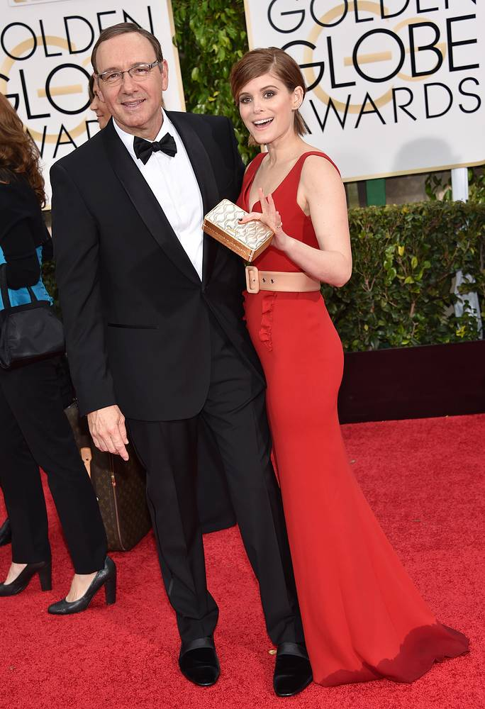 Kevin Spacey won the award for Best performance by an actor in a television series - drama for 'House of Cards'. Photo: Kevin Spacey and Kate Mara