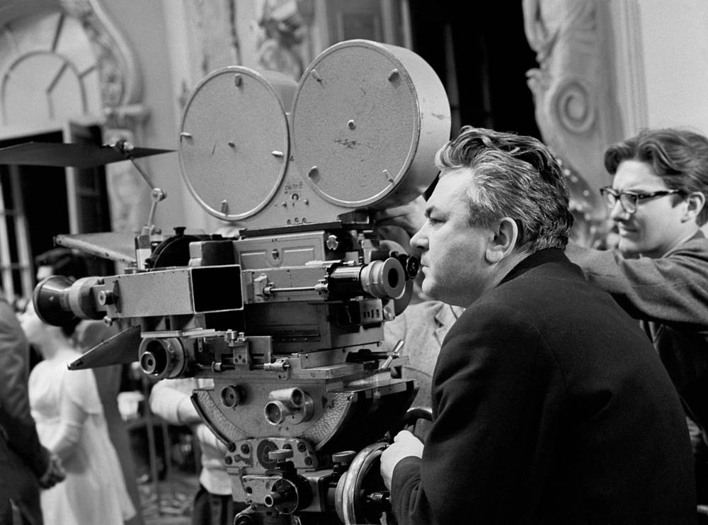 Director Sergey Bondarchuk during shooting of War and Peace film by Leo Tolstoy novel at the Mosfilm studio