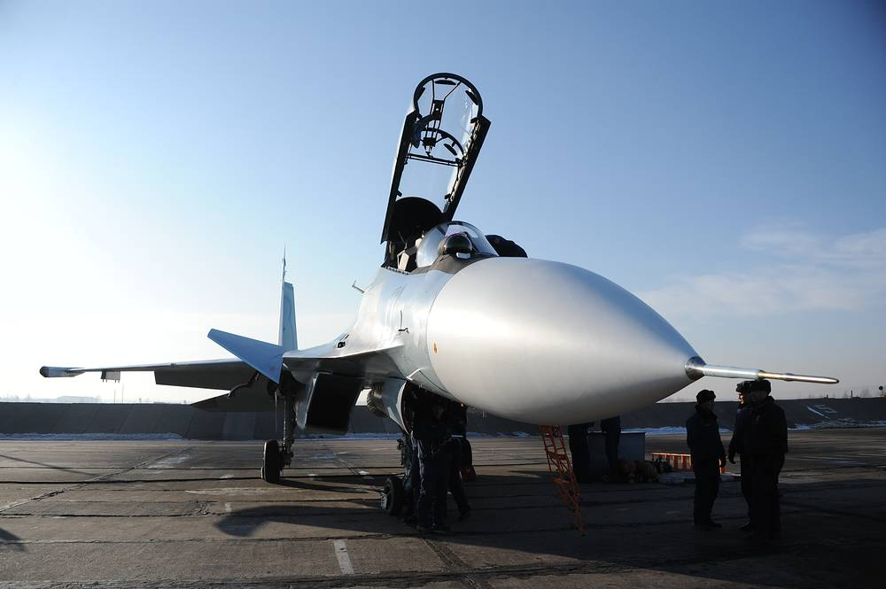 Su-30SM fighter jet before training flight at the air base of Eastern Military District