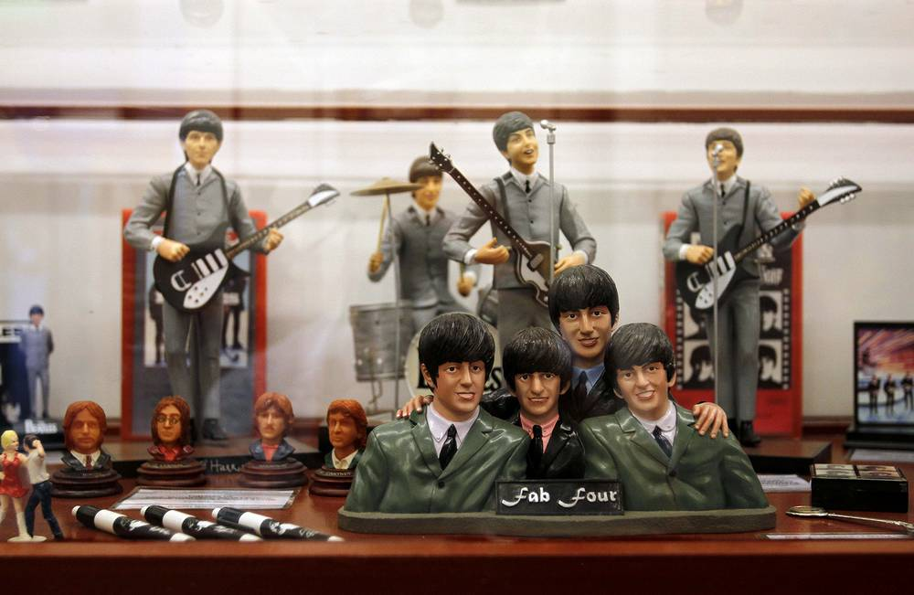 Figures depicting The Beatles are exhibited at The Cavern club and new Beatles Museum in Buenos Aires, Argentina