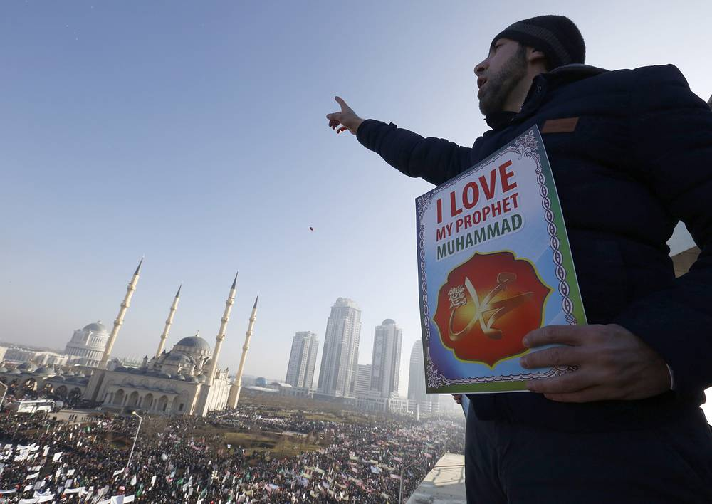 Photo: The protester during the rally in Grozny