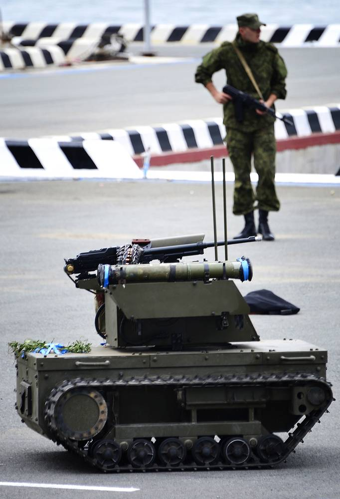 Platform-M combat robot during rehearsal for a Russian Navy Day parade in Vladivostok, Russia. It can be used for discovering and eliminating stationary and mobile targets, providing firepower support and guarding important sites