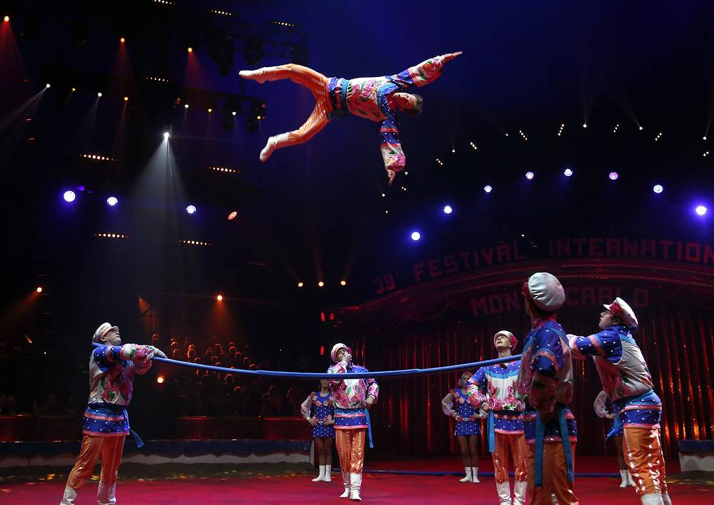 """Shatirov troupe performing circus act called """"Acrobats on Russian bar"""""""