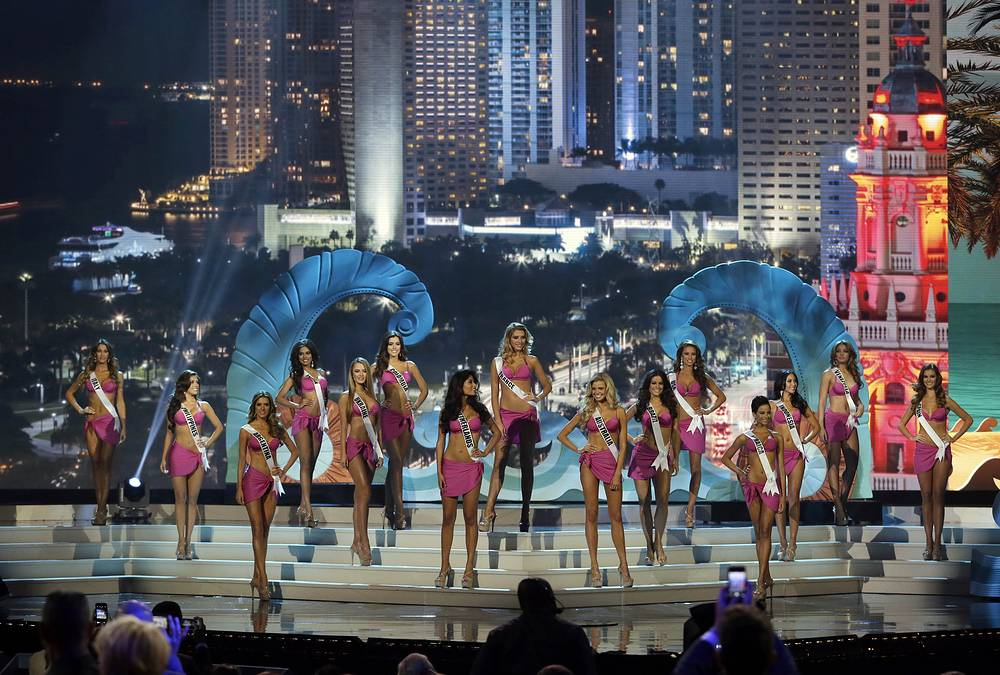 The 15 top finalist contestants during the Miss Universe pageant in Miami