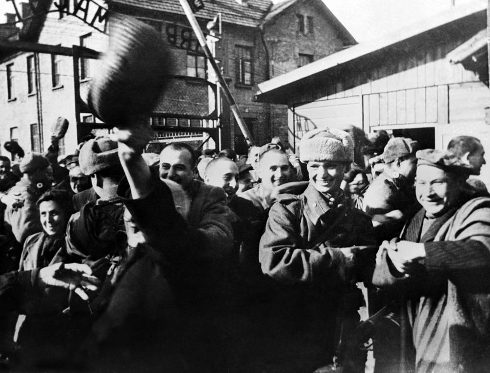 Auschwitz concentration camp inmates released by Soviet soldiers