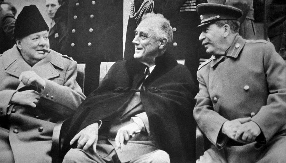 Winston Churchill, Franklin Roosevelt and Josef Stalin