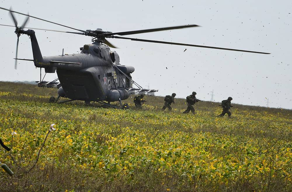 Mi-8 transport helicopter during Vostok-2014 military drills