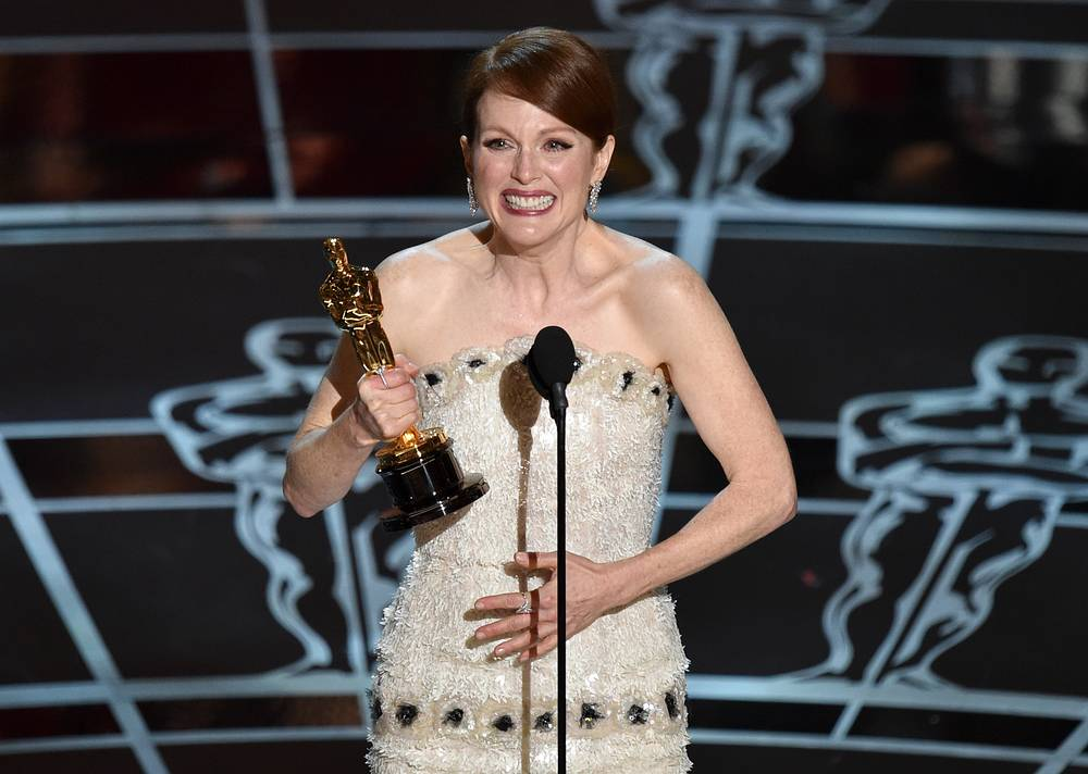 "Julianne Moore won the Academy Award for best actress in a leading role for ""Still Alice"""