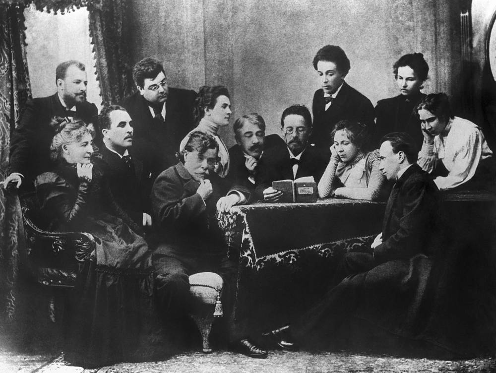 Russian writer Anton Chekhov (center) and actors of the Moscow Art Theatre, 1899. Chekhov is considered to be among the greatest writers of short stories in history