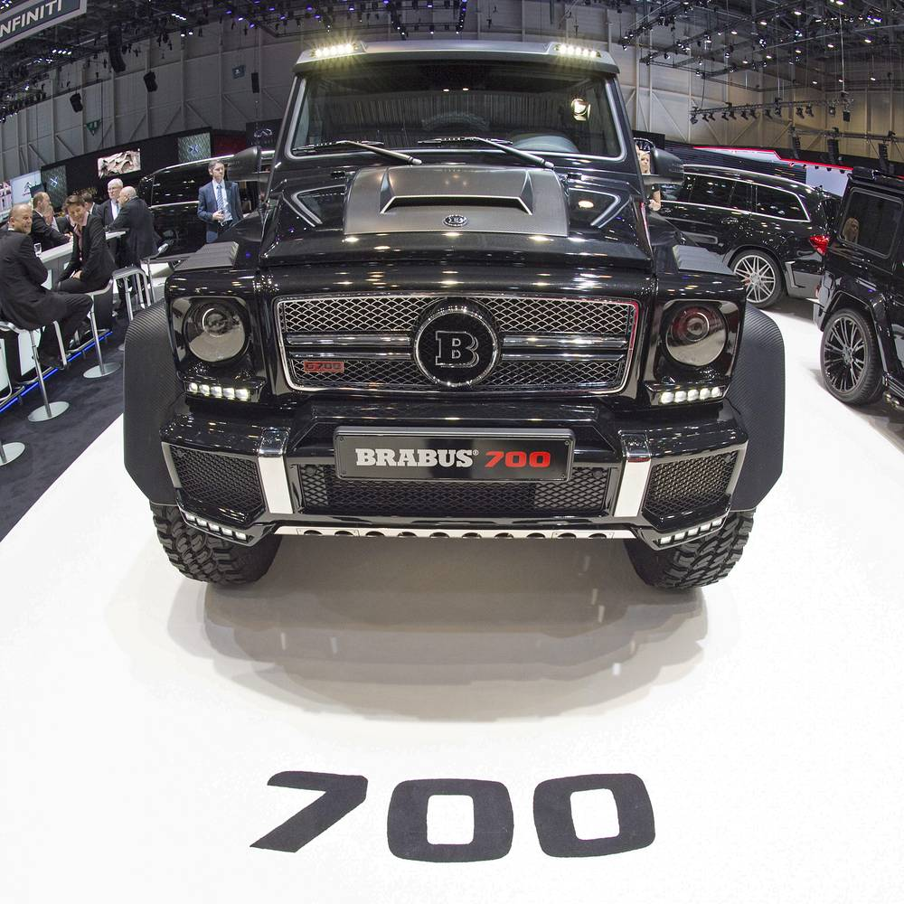 The Brabus Mercedes G700 is on display at the 85th Geneva International Motor Show at the Palexpo fairground in Geneva, Switzerland, 03 March 2015