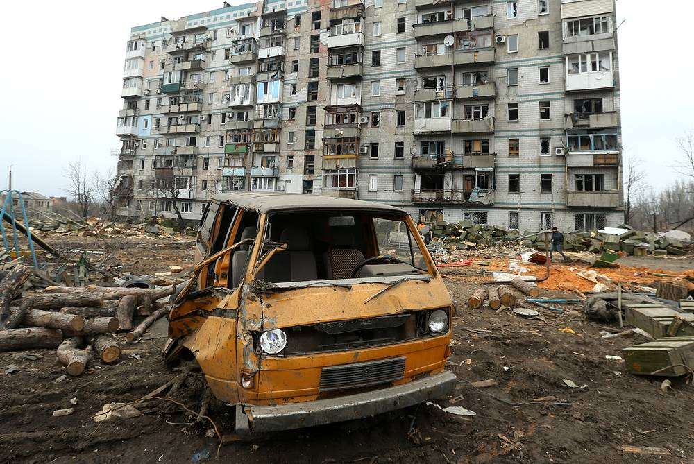 A burnt out car at the destroyed Donetsk airport