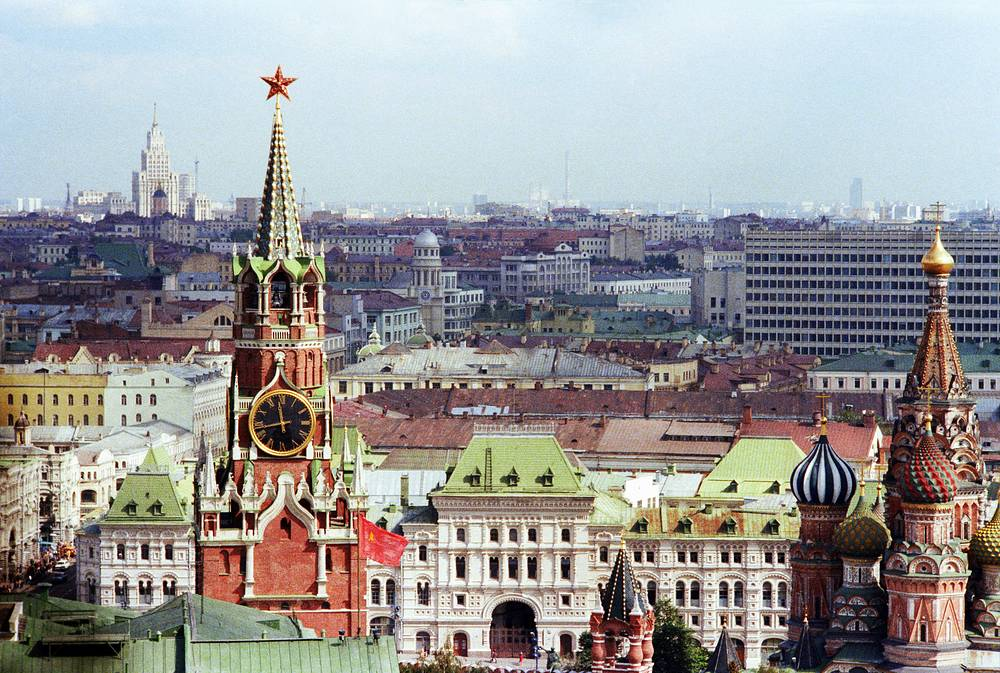 View from the belfry of Ivan the Great Bell Tower on the Spasskaya Tower and St. Basil's Cathedral, 1978