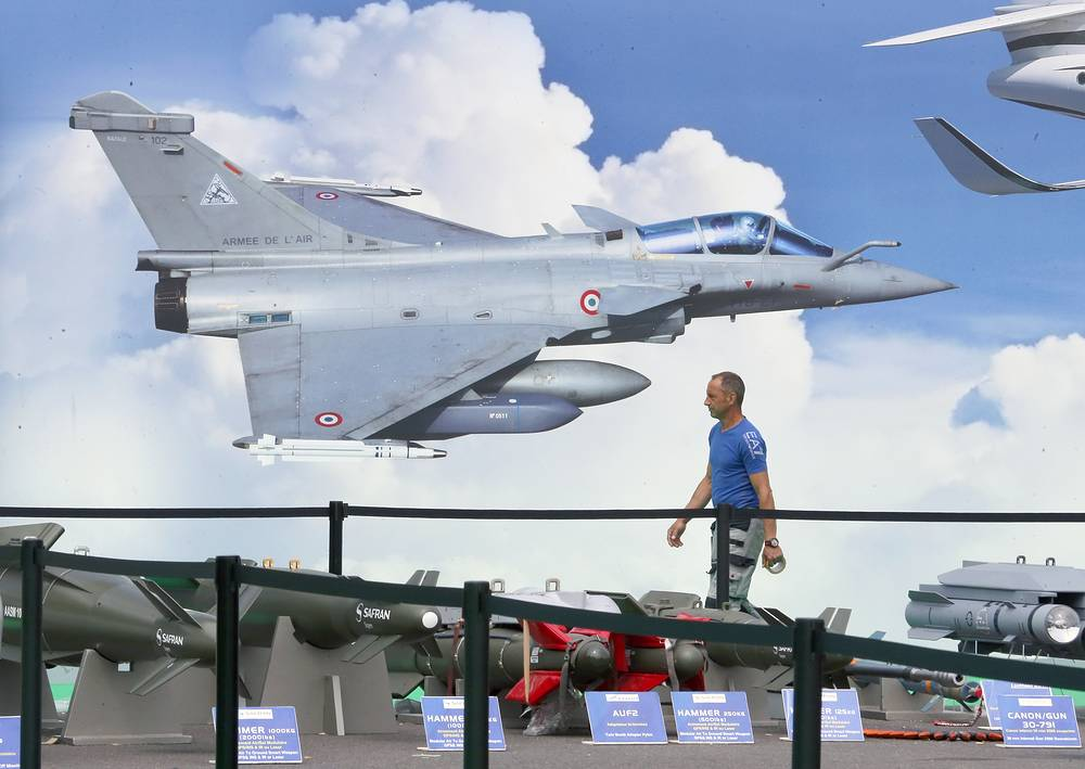 Rafale fighter aircraft at the Dassault Pavilion at the Paris Air Show-2015, Le Bourget, on the eve of its opening