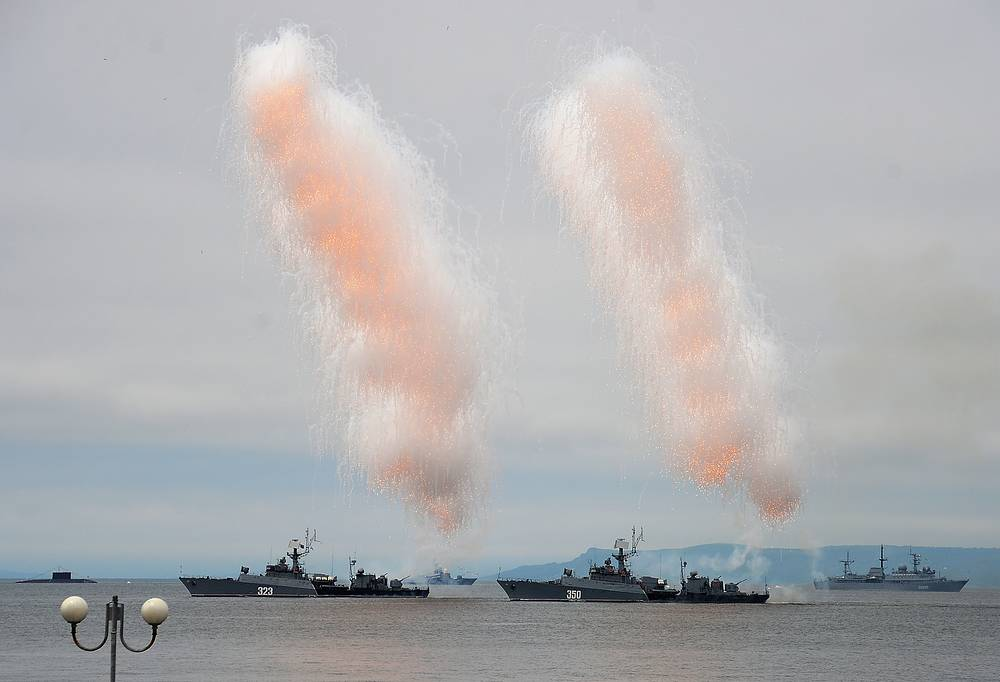 Naval ships in the Amur Bay, Vladivostok
