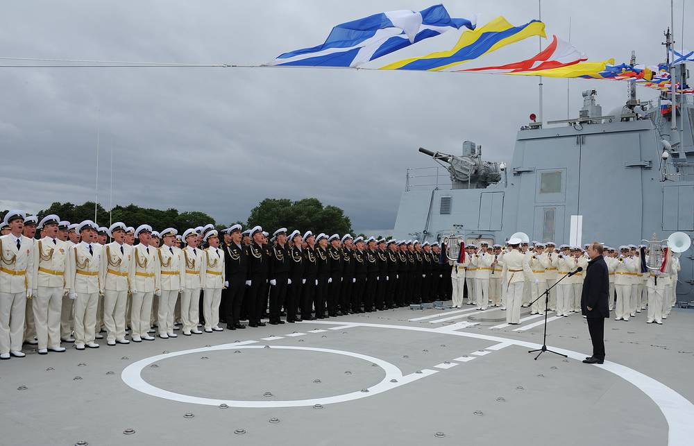 Russia's President Vladimir Putin addressing the Admiral Gorshkov crew during Russian Navy Day celebrations in Baltiysk