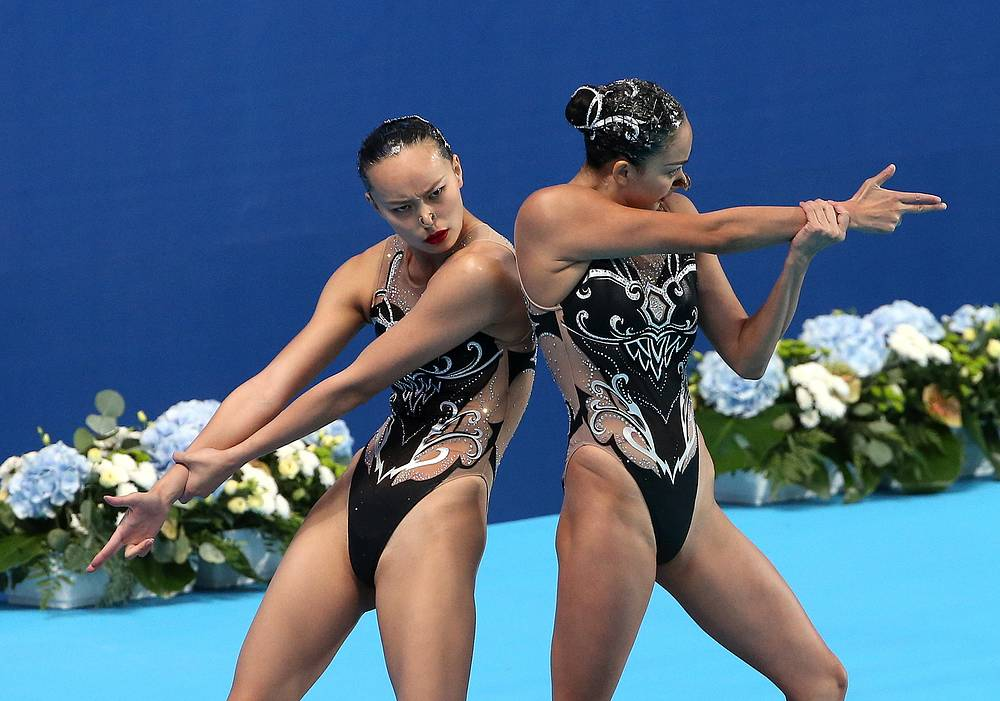 China's Huang Xuechen and Sun Wenyan performing their routine to win silver in the synchronised swimming women's duet technical final at the 16th FINA World Swimming Championships, at the Kazan Arena, July 26
