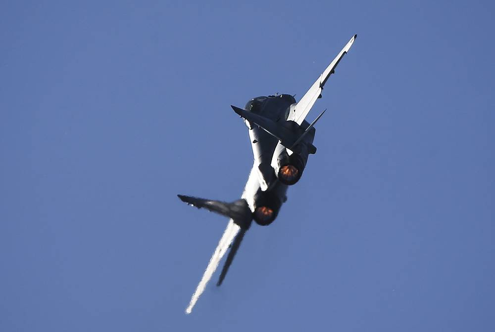 MiG-35 multirole fighter performing a flight at the opening of MAKS 2015 International Air Show