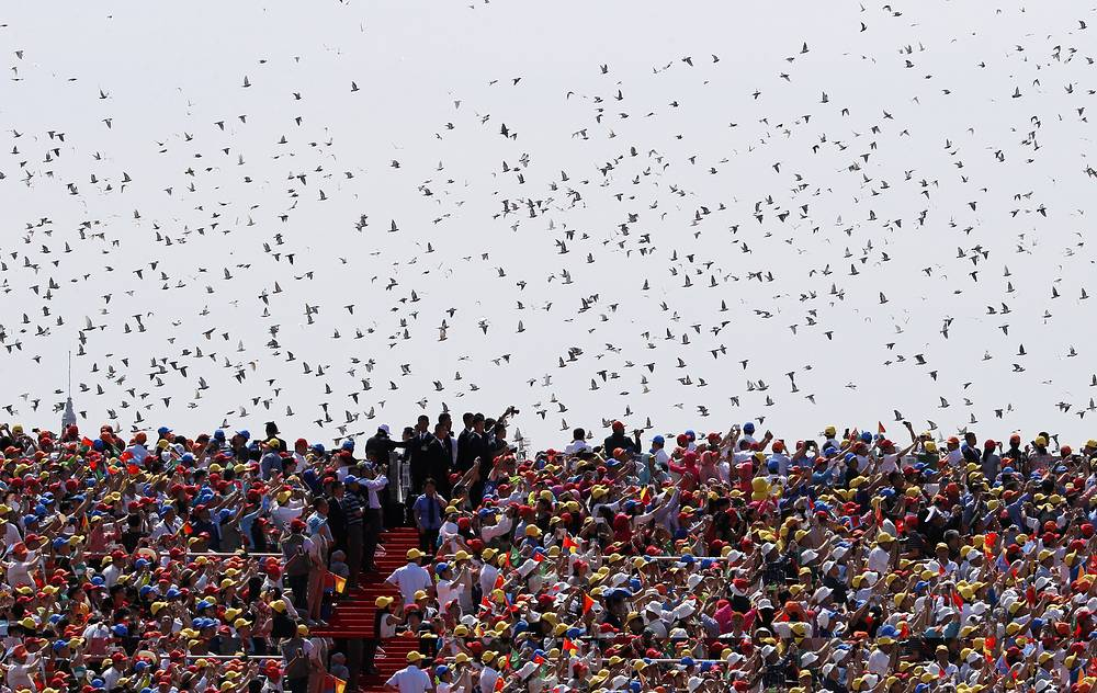 Thousands of doves released during a parade