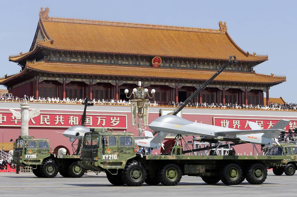 Chinese military vehicles carry Pterodactyl I unmanned aerial vehicles seen near the Tiananmen Gate