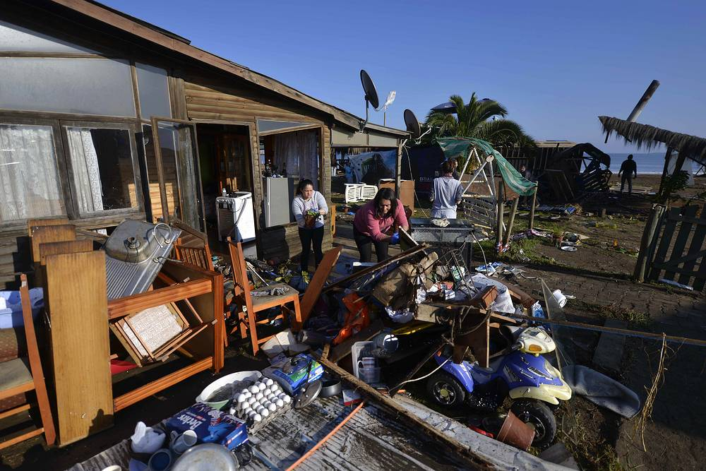 Several coastal towns were flooded from small tsunami waves set off by the earthquake