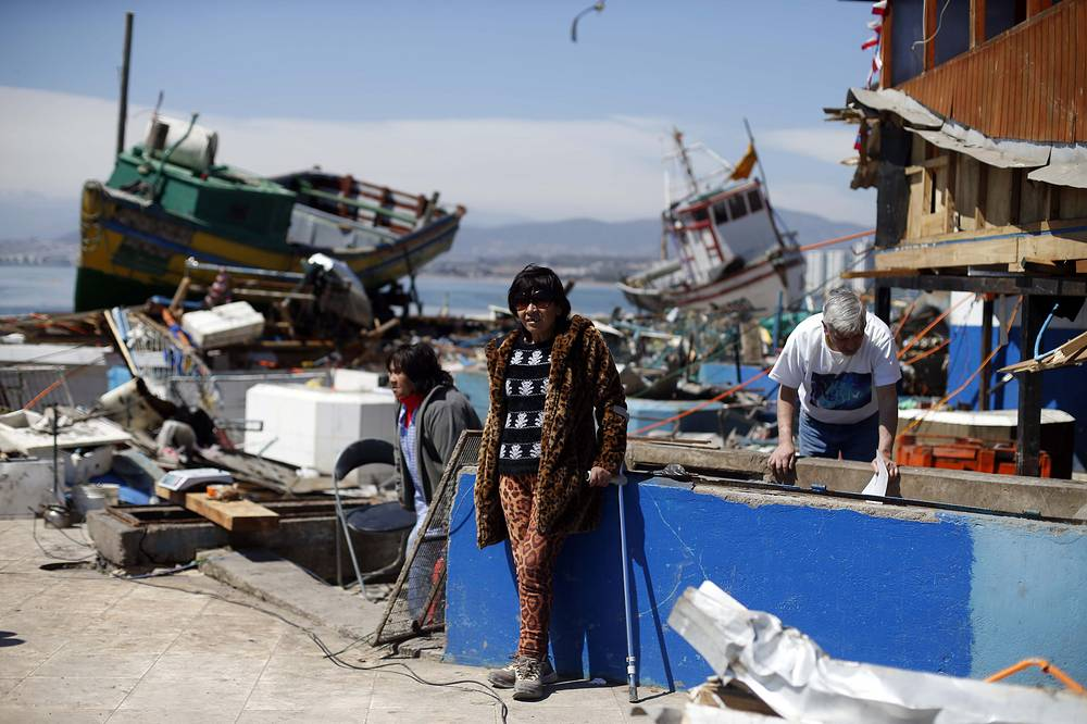 Aftermath of the earthquake-triggered tsunami in Coquimbo, Chile