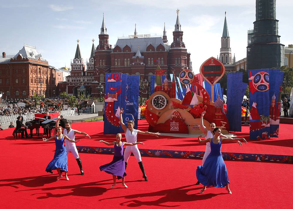 Unveiling ceremony for the clock counting down 1000 days to go until the 2018 FIFA World Cup at the Manezhnaya square in Moscow