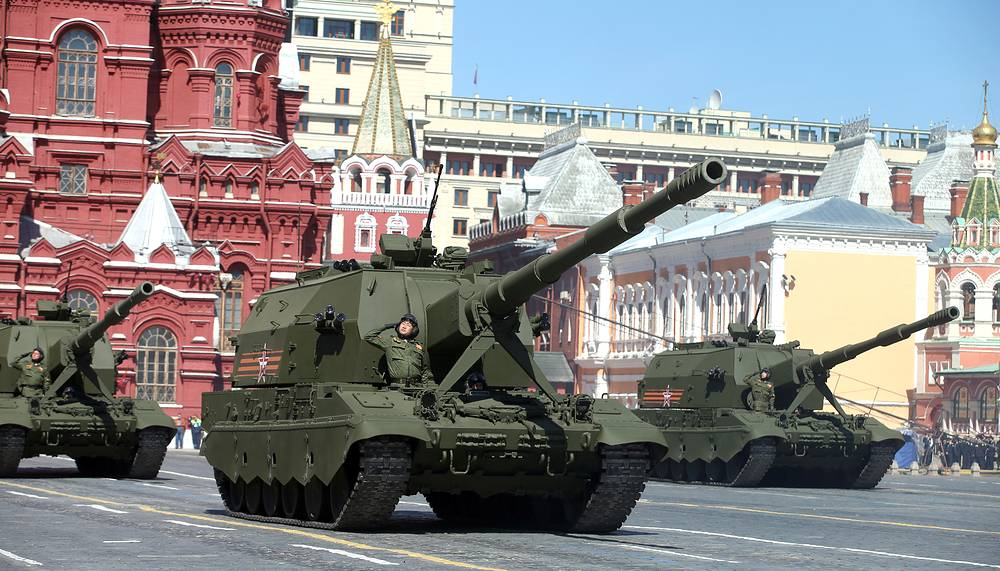 Koalitsiya-SV self-propelled tracked howitzer is first seen in public in 2015. The 2S35 is expected to replace the 2S19 Msta in the Russian Ground Forces