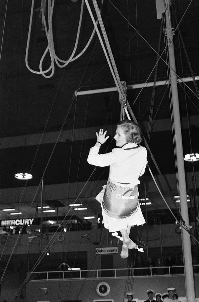 Thatcher introduced a series of political and economic initiatives intended to reverse high unemployment and Britain's struggles in the wake of ongoing recession. Photo: Margaret Thatcher at the 25th International Boat Show in London, 1979
