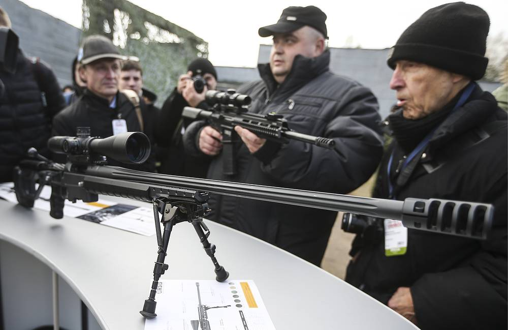 ORSIS T-5000 Russian bolt-action sniper rifle at demonstration event, Geodezia firing range in Krasnoarmeisk, Moscow region