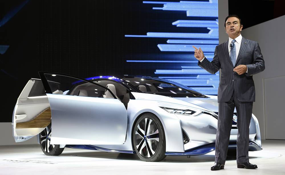 Nissan Chairman and CEO Carlos Ghosn unveiling the Nissan IDS Concept, an autonomous driving and zero emissions electric vehicle, at the 44th Tokyo Motor Show 2015 in Tokyo, Japan