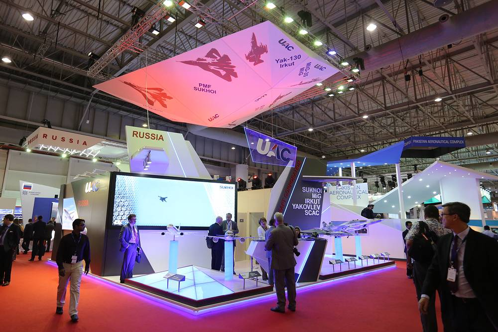 The stand of the Russia's United Aircraft Corporation (UAC) at the 2015 Dubai Airshow