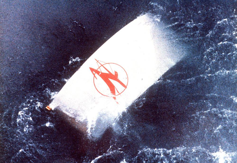 Air India Boeing 747 crash off the Irish coast, which killed all 329 people on board on June 23, 1985. Photo: A drifting piece of wreckage, carrying the Air India logo, seen floating in the water