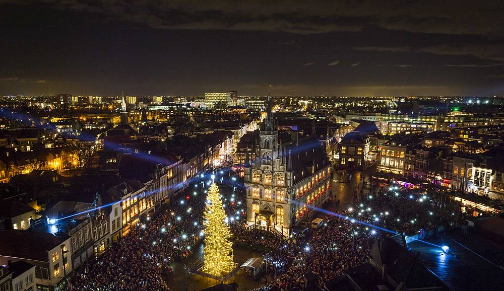 Christmas tree on the central square in Gouda, The Netherlands