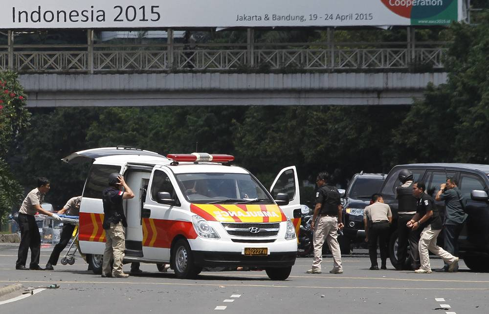 The site of a bomb blast in Jakarta
